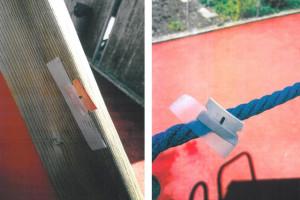 Auf dem Spielplatz des Kindergartens in Allmendingen haben Unbekannte am Montag, 10. August 2015, insgesamt 12 Rasierklingen montiert. Verletzt wurde zum Glück niemand.Auf dem Spielplatz des Kindergartens in Allmendingen haben Unbekannte am Montag, 10. August 2015, insgesamt 12 Rasierklingen montiert. Verletzt wurde zum Glück niemand.
